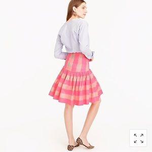 NWT J. Crew Taffeta Skirt Neon Pink Buffalo Check